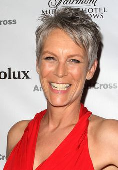 Jamie Lee Curtis, got my hair cut like hers when I was done with coloring and to let my gray grow in. Thank you Jamie Lee!