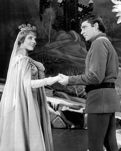 Photo of Julie Andrews as Queen Guinevere and Richard Burton as King Arthur from the Broadway production of Camelot ca. 1960s