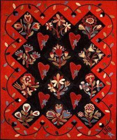 Primitive Wool Applique Quilt by Primitive Gatherings