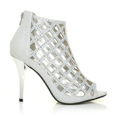 1a3a60b0ea8 AGRA Silver Mesh Peep Toe Caged Diamante High Heel Ankle Boots – ShuWish UK