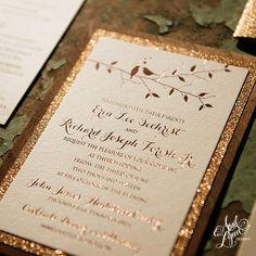 Maybe with mountains instead of birds april_lynn_designs_erin_rich_rose_gold_foil_wood_rustic_wedding_invitation_glitter_lovebirds_john_james_audubon_center_wedding_7141_feature