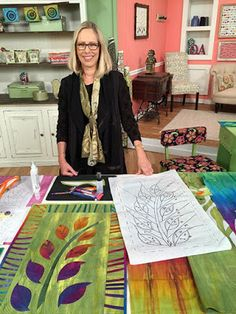 Frieda Anderson on the set of Quilting Arts TV. #QATV  Blue Moon River