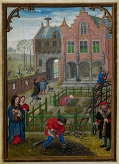 Medieval Garden. The month March from the calendar in 'Le livre d'Heures de Notre Dame' (or 'the Hours of Hennessy'), illuminations by Simon Bening, Brugge (Bruges), c. 1520-1530 (Brussels, Bibliothèque Royal Albert I, ms II 158, fol. 3v)