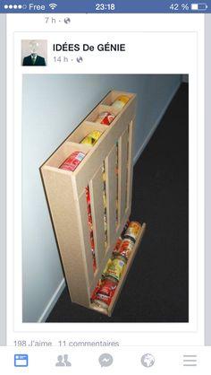 DIY rangement boîtes de conserve en palette