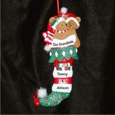 cba983515f928 Bear Stocking of 2 Grandparents Ornament. Family Christmas  OrnamentsChristmas Tree DesignBaby OrnamentsPersonalized ...