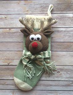 Crochet reindeer Rudolph christmas stocking