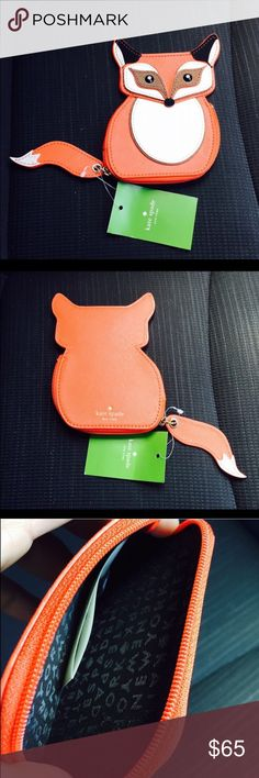 "Kate Spade Fox coin purse  NWT Kate Spade Fox coin purse  4"" x 5"".  Eyes are black jewels and the tail is the zipper pull NWT. NO TRADES kate spade Bags"