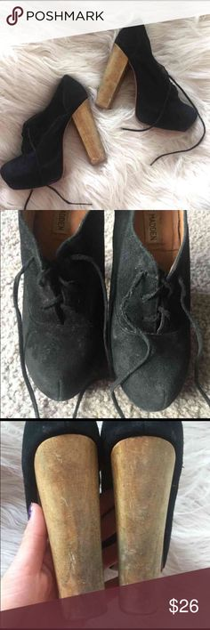Steve Madden Block Heel Black Bootie Shoes Black shoes/booties in a faux suede material from Steve Madden, similar to the Jeffrey Campbell Lita bootie. They have a wooden block heel with a height of at least 5 inches. I'd say they're in 6.5/10 condition - one set of laces is a bit crimped, the outside of the shoes have a few marks, and the heels have some scrapes as well. I'm just being thorough, these are still very wearable and cute! Price is negotiable (to a point, be reasonable please!)…