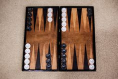 Wood and Leather Handmade Backgammon Board with by UrsusLeather, $300.00