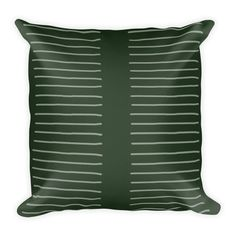 Add colour to your space with this hand designed pattern. pre-shrunk polyester case Moisture-wicking fabric with a linen feel Hidden zipper Machine-washable case Shape-retaining polyester insert included (handwash only) Hand Designs, Green Stripes, Pattern Design, Throw Pillows, Shape, Zipper, Colour, Embroidery, Fabric