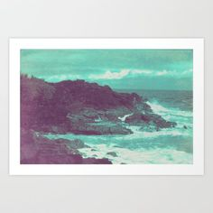seafoam green water and purple cliffs photography