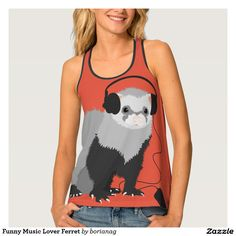 Funny Music Lover Ferret Tank Top