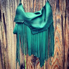 Darker Medium Green Leather Boho Bag by RusticMoon13 on Etsy