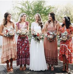 Beautiful bride and her bridesmaids all in Spell (from different collections!) we love the way she's styled her girls in different prints all toned together ❤️️ {bride wears Hippie Bridesmaid Dresses, Wedding Bridesmaids, Wedding Attire, Patterned Bridesmaid Dresses, Maxi Dresses, Different Bridesmaid Dresses, Casual Dresses, Crochet Wedding Dresses, Bohemian Wedding Dresses