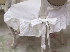 ~ white linen chair seat cover from The Bella Cottage