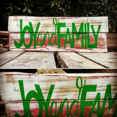 Old Farmhouse Style Joy and Family Sign, Rustic, Shabby and Chic, Vintage style reclaimed pallet sign Christmas Decor, FREE SHIPPING!