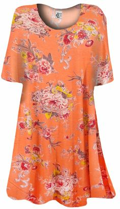 1086f342134 Coral With Yellow   Peach Flowers Print Plus Size   Supersize Extra Long T- Shirt 1x