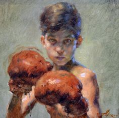 """Boxer"" Robert Liberace  - 6x6, oil on panel - at Principle Gallery"