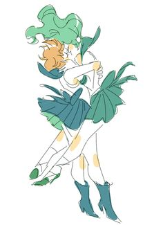 Sailor Moon - Haruka Tenou x Michiru Kaiou - HaruMichi Arte Sailor Moon, Sailor Moon Fan Art, Sailor Neptune, Sailor Uranus, Sailor Scouts, Character Design Inspiration, Magical Girl, Yuri, Cute Art