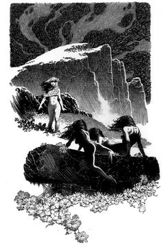 Mark Schultz, Illustration for The Vale of Lost Women by Robert E. Howard, Complete Conan of Cimmeria, Volume Wandering Star Ink Illustrations, Illustration Art, Perspective Drawing Lessons, Comic Layout, Sword And Sorcery, Environmental Art, Comic Artist, Fantastic Art, Dark Art