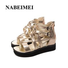 22.99$  Watch here - http://aliny0.shopchina.info/go.php?t=32807638686 - Gladiator sandals women shoes 2017 new gladiator Rome wedges superstar solid white/gold/black summer shoes zapatos de mujer 22.99$ #buyonlinewebsite