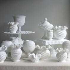 Vintage Hobnail Milk Glass Wedding Cake by BarkingSandsVintage