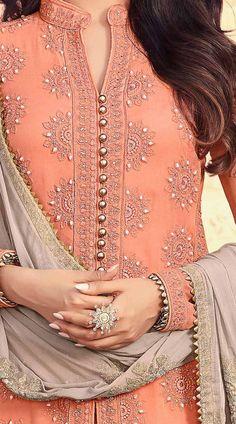 Pant Style Salwar Kameez Georgette Top, Santoon Bottom and Nazneen dupatta. Kurta Designs Women, Kurti Neck Designs, Dress Neck Designs, Salwar Designs, Kurti Designs Party Wear, Pakistani Dress Design, Pakistani Dresses, Indian Designer Outfits, Indian Outfits