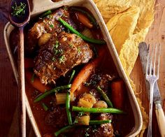Beer and thyme beef cheeks recipe - By Australian Women& Weekly, Looking for hearty and full-of-flavour dinner options? You can& go past these beer and thyme beef cheeks. Meat Recipes, Slow Cooker Recipes, Chicken Recipes, Cooking Recipes, Weekly Recipes, Slow Cooking, Beef Cheeks Recipe Slow Cooker, Crockpot Recipes, Slow Cooked Beef Cheeks