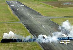 Gisborne Airport, New Zealand (hehe, plane waits for train to pass)