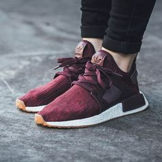 The women's adidas NMD is rendered in maroon for its latest iteration this season. Find it at select adidas stores overseas first. White Sneakers, Adidas Sneakers, Sneakers Workout, Maroon Vans, Chunky Sneakers, Running Sneakers, White Shoes, Tenis Nmd, Men Shoes