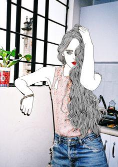 "Collaborative project ""BryJin"" by fashion photographer Bryant Eslava and illustrator Hajin Bae"