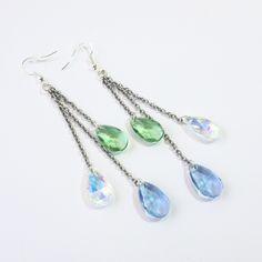 Boucles d'oreilles gouttes cristal Swarovski et argent 925 pastel printemps : Boucles d'oreille par la-perruche-de-rio