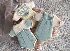 Baby in blue cookies, heirloom sewing style, by Dolce Flo