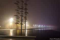 "https://flic.kr/p/r2GM7P | Misty night | ""the umbrellas"" sculpture at seaside of Thessaloniki - Greece a misty night of December."