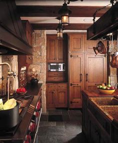 Rustic elegance, cherry or dark wood stained kitchen cabinets