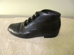 vintage black leather buttonup ankle boots by mellowrabbit on Etsy, $26.00