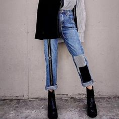 High Waist Ankle-Length Pants Denim Patchwork Zipper Spliced – Tomscloth Reverse the gravity by turning the jeans into upside down shorts. Cargo Pants Women, Pants For Women, Custom Clothes, Diy Clothes, Denim Fashion, Fashion Outfits, Fashion Clothes, Casual Outfits, Cute Outfits