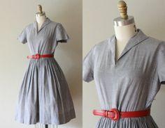 VTG 50s Gray House Dress w/ Full Skirt XS/S. $37.00, via Etsy.