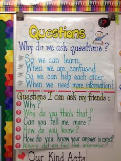 Questioning anchor chart - student generated