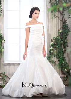 Adorable Taffeta Mermaid Off-the-shoulder Neckline Raised Waist Bridal Dress