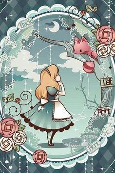<IPhone wallpaper wallpaper - computer wallpaper - Avatar - Illustration - text - - Anime - Tile - Moe matter - Cartoon - People> → Yes_GirL - Alice in Wonderland Disney Love, Disney Art, Alice Disney, Anime Pokemon, Chesire Cat, Alice Madness, Disney Kunst, Adventures In Wonderland, Wonderland Alice