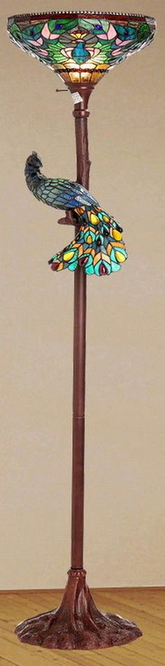"""Great base - Tiffany Style 68"""" Pleasure Peacock Torchiere Stained Glass Floor Lamp New"""