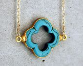 Turquoise Clover 14k Gold Filled Necklace