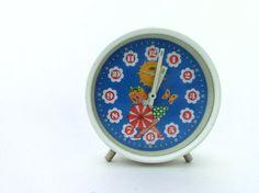 Vintage Alarm Clock White and Blue clock Table by ArtmaVintage