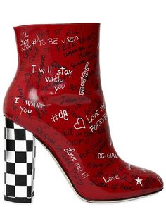 7/13/17 DOLCE & GABBANA - GRAFFITI LEATHER ANKLE BOOTS - LUISAVIAROMA Checkered heel . Side zip closure . All over graffiti. Leather sole