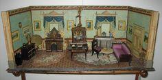 Rare & unusual antique German Room box box paper litho furnished Boule ormolu