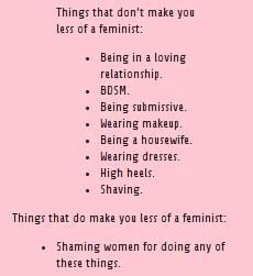 Or shaming women for any choice they make (not shaving, not being a housewife etc.). Feminism is about giving women choice free of judgment.