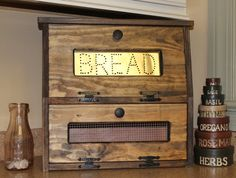 Rustic Bread Box Vegetable Bin wooden Punched Tin Storage Primitive Cupboard Onion Potatoes Country Kitchen by dlightfuldesigns