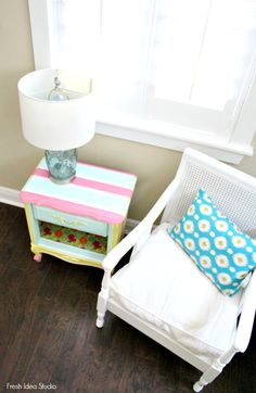 easy DIY thifty night stand with gift wrap and Mod Podge