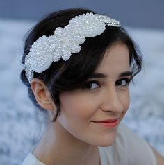 SALE/// Pearl Crown Wedding Headband Bridal Headpiece Crystals Rhinestones Great Gatsby Downton Abbey on Etsy, £69.83